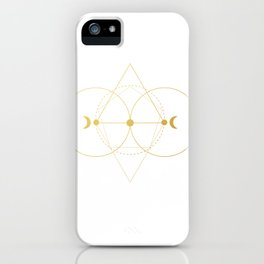 Gold moon geometry iPhone Case