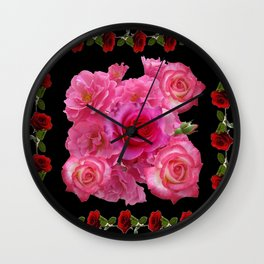 RED & PINK ROSES BLACK VIGNETTE ART  PATTERN Wall Clock