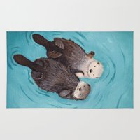 cute Area & Throw Rugs featuring Otterly Romantic - Otters Holding Hands by When Guinea Pigs Fly