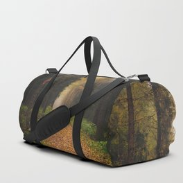 Autumn path and bench Duffle Bag