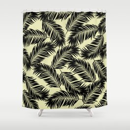 Palm Frond Tropical Décor Leaf Pattern Black on Yellow Shower Curtain