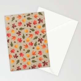Autumn Leaves Pattern Beige Background Stationery Cards
