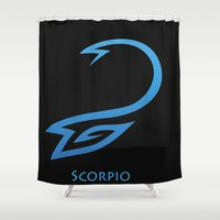 scorpio Shower Curtains featuring Scorpio by Groovyal