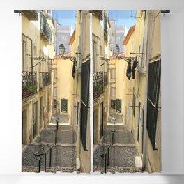 Narrow Alleyway in Lisbon, Portugal Blackout Curtain