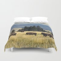 parks Duvet Covers featuring National Parks Bison Herd by BravuraMedia