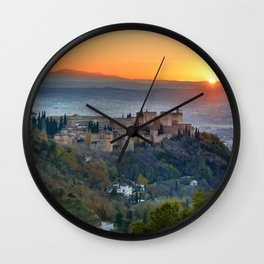Red sunset at The Alhambra Palace Wall Clock