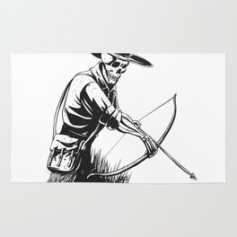 Cowboy skeleton with crossbow - black and white - gothic skull cartoon - ghost silhouette Rug