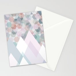 Pastel Graphic Winter Mountains on Geometry #abstractart Stationery Cards