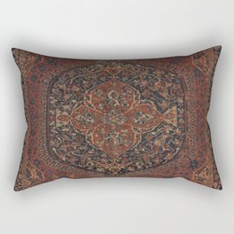 Boho Chic Dark I // 17th Century Colorful Medallion Red Blue Green Brown Ornate Accent Rug Pattern Rectangular Pillow