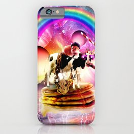 Cat Riding Cow With Pancakes And Milkshake iPhone Case