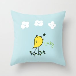 Chirp and Whistle Lucky Bird Throw Pillow