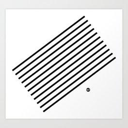 Stripes Diagonal Black White Minimal Design Art Print