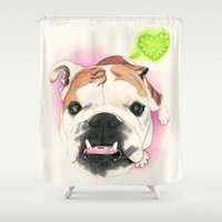 english bulldog Shower Curtains featuring English Bulldog - F.I.P. - @LucyFarted by PaperTigress