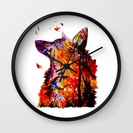 Autumn (The wolf, the deer and the autumn, christmas forest) Wall Clock