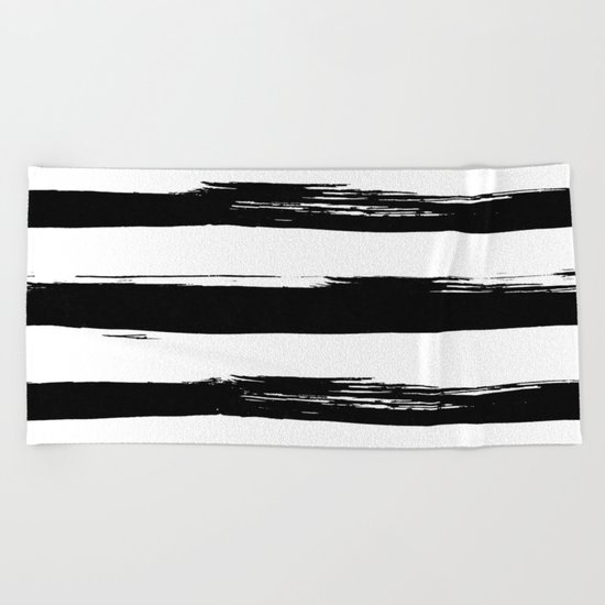 Stylish Black and White Stripes Beach Towel
