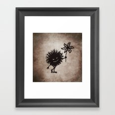 Evil Bug Gives Flower Framed Art Print