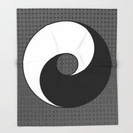 B&W YIN & YANG Taoism/Daoism ART Throw Blanket