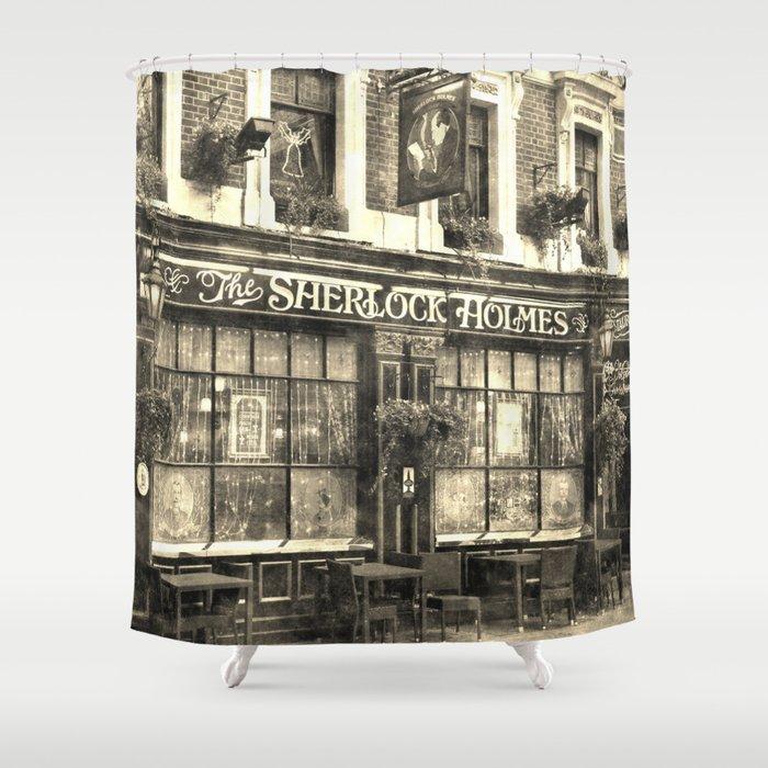 The Sherlock Holmes pub Vintage Shower Curtain by davidpyatt | Society6