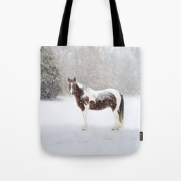 Pinto Horse In Snow Tote Bag