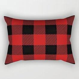Western Country Woodland Christmas Cottage Primitive lumberjack Buffalo Plaid Rectangular Pillow