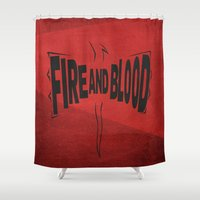 daenerys Shower Curtains featuring House Targaryen - Fire and Blood by Jack Howse