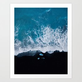 Abstract and minimalist black sand beach in Iceland with chunks of Ice and waves - moody Landscapes Art Print