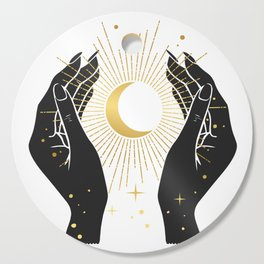 Gold La Lune In Hands Cutting Board
