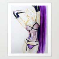 burlesque Art Prints featuring Burlesque  by Sarah