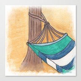 Just Swaying Away-Watercolor Hammock Design Canvas Print
