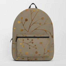 Tan & Gold Brunches Seamless Pattern Backpack
