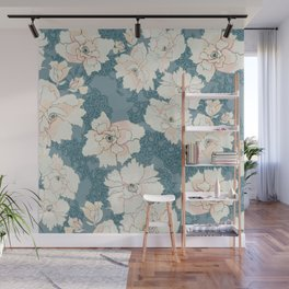 Teal and Peach Peony Floral Wall Mural