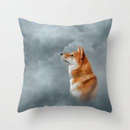 Drawing Japanese Shiba Inu dog Throw Pillow