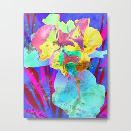 Fluorescent Watercolor Iris Art - Purple & Aqua Blue Metal Print