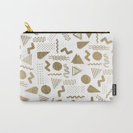 Retro abstract geometrical faux gold white 80'spattern Carry-All Pouch