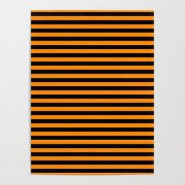Dark Pumpkin Orange and Black Halloween Deck Chair Stripes Poster