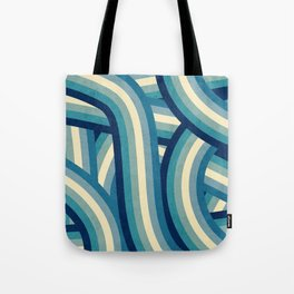 Vintage Faded 70's Style Blue Rainbow Stripes Tote Bag