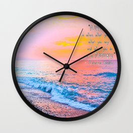 Happiness Quote Mahatma Gandhi Wall Clock