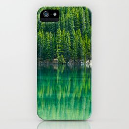 Reflective Green Pine Forest With Green Turquoise Waters iPhone Case