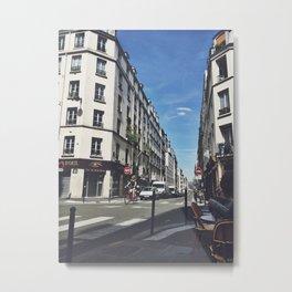 Paris Summer Street Scene - Bastille Quarter Metal Print