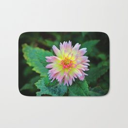 Dahlia With Green Leaves Bath Mat