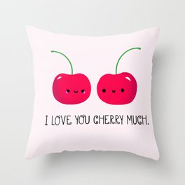 I Love You Cherry Much Throw Pillow