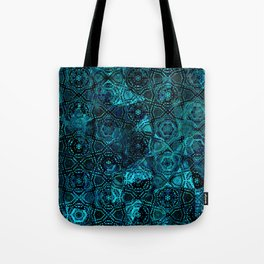 Starry Deep Blue Night Sky , Abstract Geometric Pattern with Moon Lit Domino Stars Tote Bag