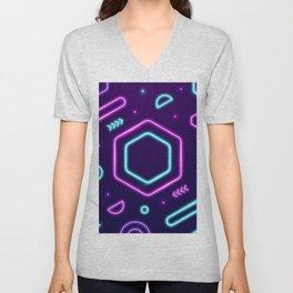 Neon Molecules Arcade  Unisex V-Neck