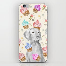 CUPCAKES AND WEIMARANER iPhone Skin