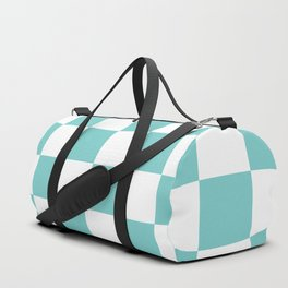 Large Aqua Checkerboard Pattern Duffle Bag