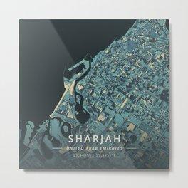 Sharjah, United Arab Emirates - Cream Blue Metal Print