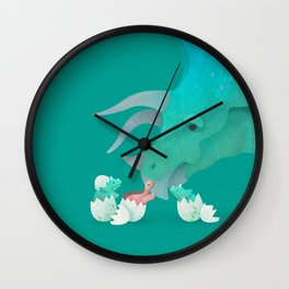Triceratops Hugs by Ballsy Creative Wall Clock