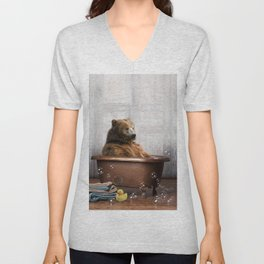 Bear with Rubber Ducky in Vintage Bathtub Unisex V-Neck