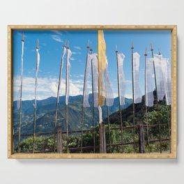 Bhutan: Buddhist Prayer Flags Serving Tray