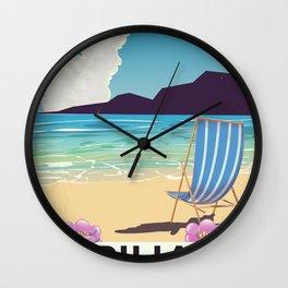 Piha New Zealand vacation poster Wall Clock